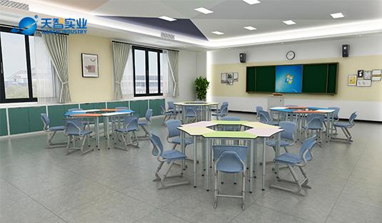 互动课桌椅-梯形桌
